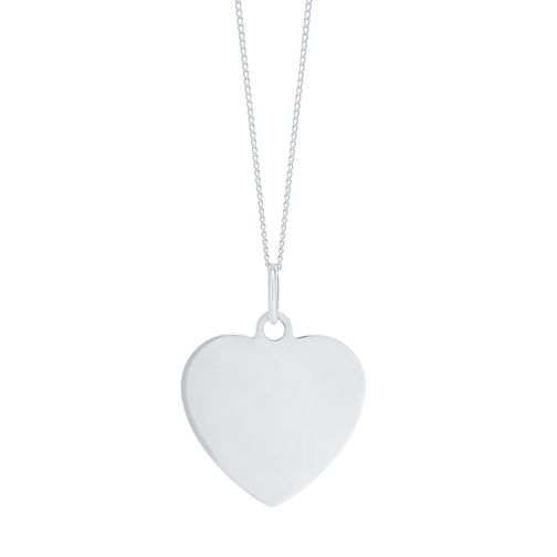 "9ct White Gold Plain Heart Pendant With 18"" Chain - Product number 5029708"