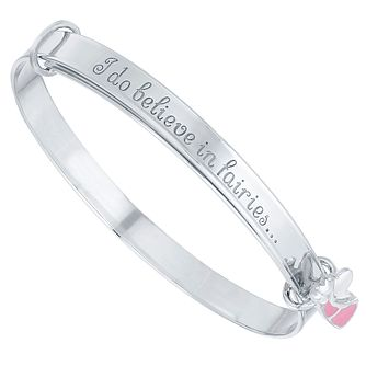 Children's Silver & Pink Enamel Fairy Dust Expander Bangle - Product number 5029783