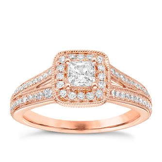 Vera Wang 18ct rose gold 70pt diamond cushion halo ring - Product number 5037662