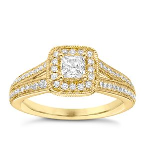 Vera Wang 18ct yellow gold 70pt diamond cushion halo ring - Product number 5037875