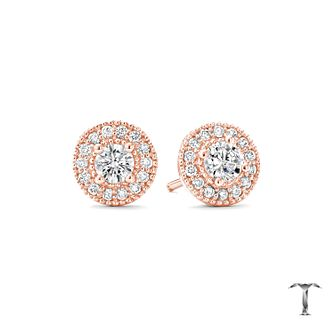 Tolkowsky 18ct Rose Gold 0.50T I-I1 Diamond Halo Earrings - Product number 5045355