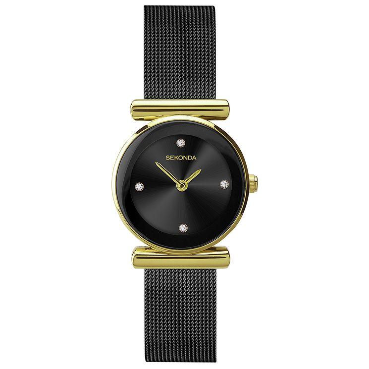 Sekonda Diamond Set Black Ion Plated Mesh Bracelet Watch