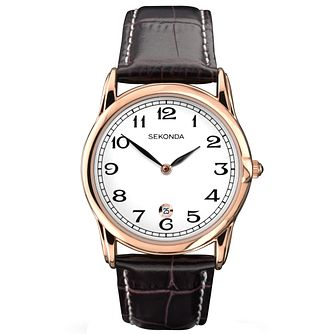 Sekonda White Dial Brown Leather Strap Watch - Product number 5052408