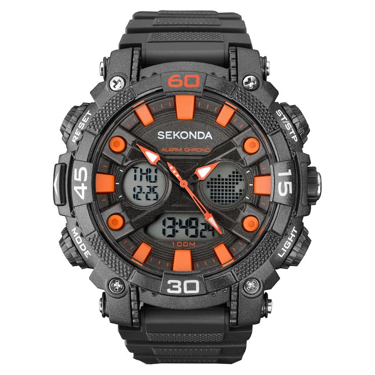 Sekonda Illuminator Black Dial Black Resin Strap Watch - Product number 5052440