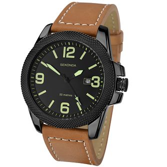Sekonda Black Dial Brown Leather Strap Watch - Product number 5052467