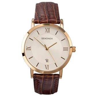 Sekonda Champagne Dial Brown Leather Strap Watch - Product number 5052564