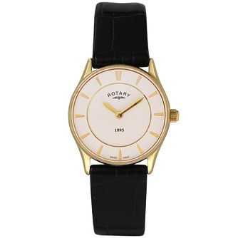 Rotary Ladies' White Dial Black Leather Strap Watch - Product number 5057272