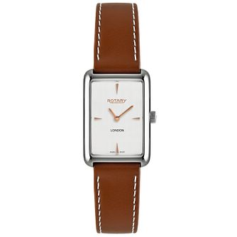 Rotary London Ladies' White Dial Brown Leather Strap Watch - Product number 5057329
