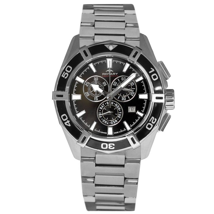 Rotary Men's Black Dial Stainless Steel Bracelet Watch - Product number 5057353