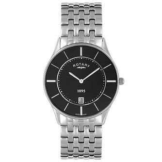 Rotary Men's Black Dial Stainless Steel Bracelet Watch - Product number 5057485