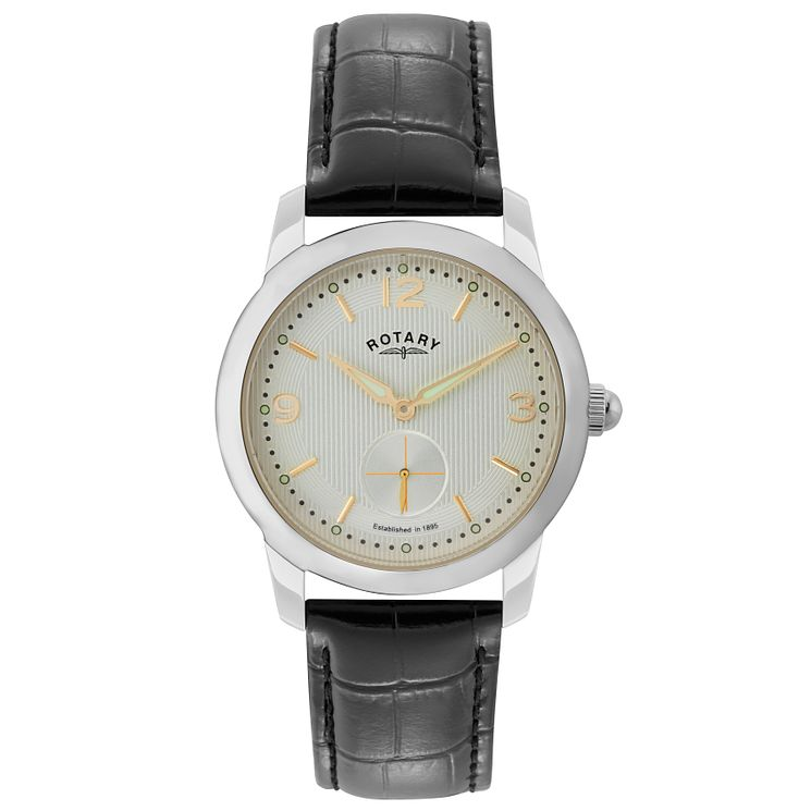 Rotary Men's White Dial Black Leather Strap Watch - Product number 5057779