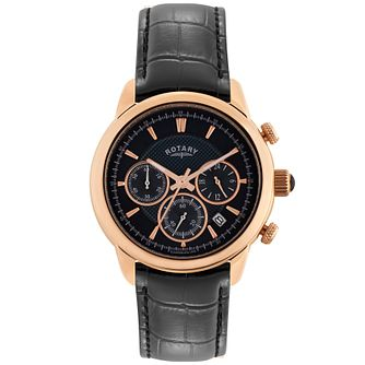 Rotary Men's Rose Gold-Plated Black Leather Strap Watch - Product number 5057795