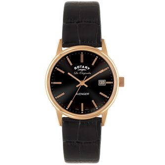 Rotary Avenger Men's Black Dial Black Leather Strap Watch - Product number 5057906