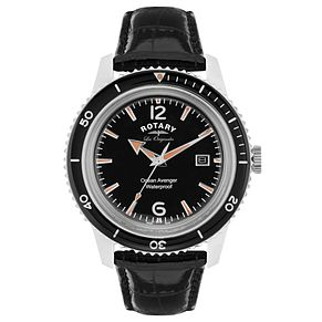 Rotary Ocean Avenger Men's Black Leather Strap Watch - Product number 5057949