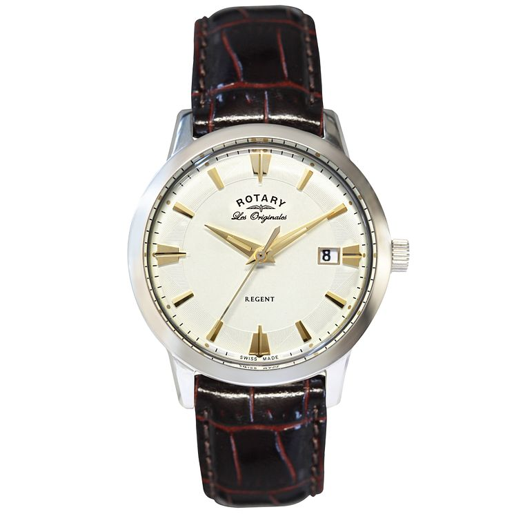 Rotary Les Originales Regent Men's Brown Leather Strap Watch - Product number 5057965