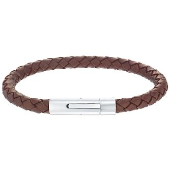 Men's Brown Leather Stainless Steel 6mm Bracelet - Product number 5061946