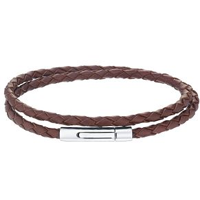 Men's Brown Leather Stainless Steel 2 Row Bracelet - Product number 5061962