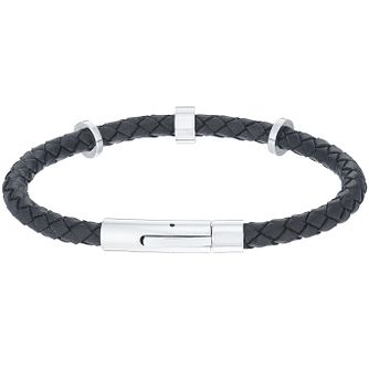 Men's Black Leather Stainless Steel Bracelet - Product number 5061970