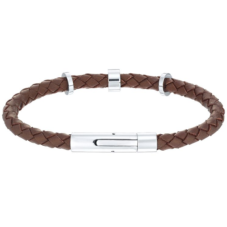 Men's Brown Leather Stainless Steel Bracelet - Product number 5061989