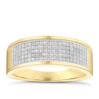 Men's 9ct Yellow Gold 0.30ct Diamond Signet Ring - Product number 5062039