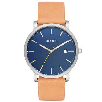 Skagen Men's Blue Dial Brown Leather Strap Watch - Product number 5062578