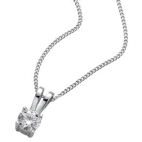 18ct White Gold 0.25ct F/G VS2 Diamond Pendant - Product number 5062772