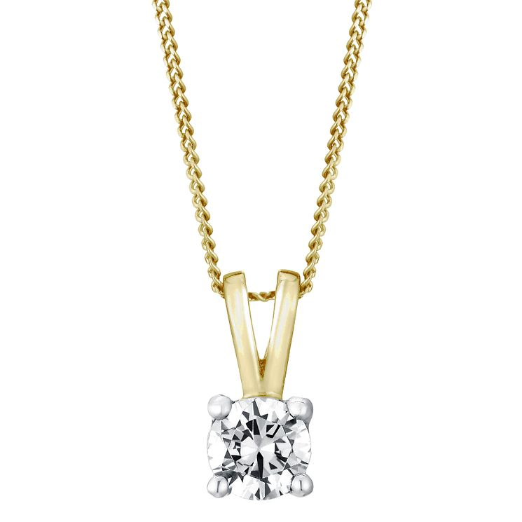 18ct yellow gold 0.40ct H/I SI2 Diamond pendant - Product number 5063450