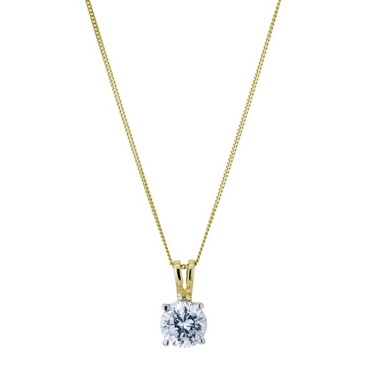 18ct yellow gold 1ct H/I SI2 solitaire pendant - Product number 5063531