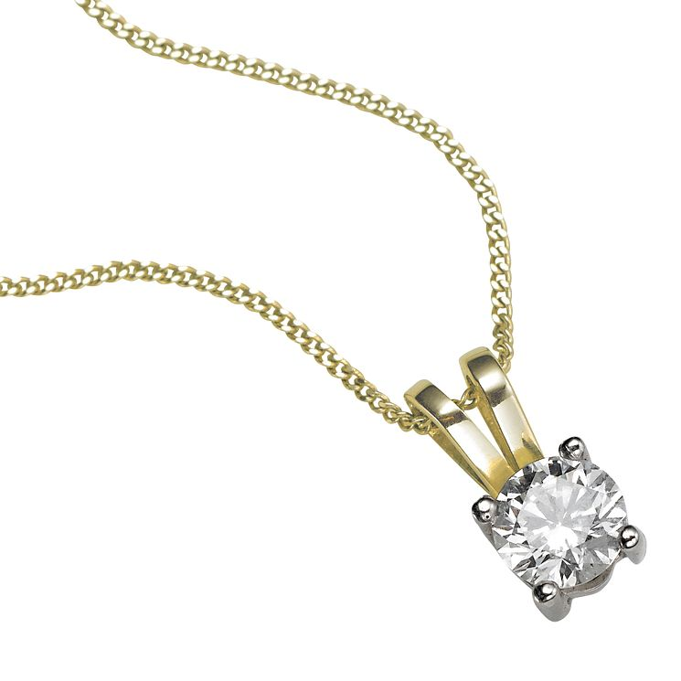 18ct yellow gold 0.33ct F/G VS2 Diamond pendant necklace - Product number 5063574