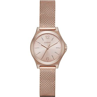 DKNY Ladies' Rose Dial Rose Gold-Plated Mesh Bracelet Watch - Product number 5065534