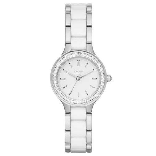 DKNY Ladies' White Ceramic & Stainless Steel Bracelet Watch - Product number 5065577