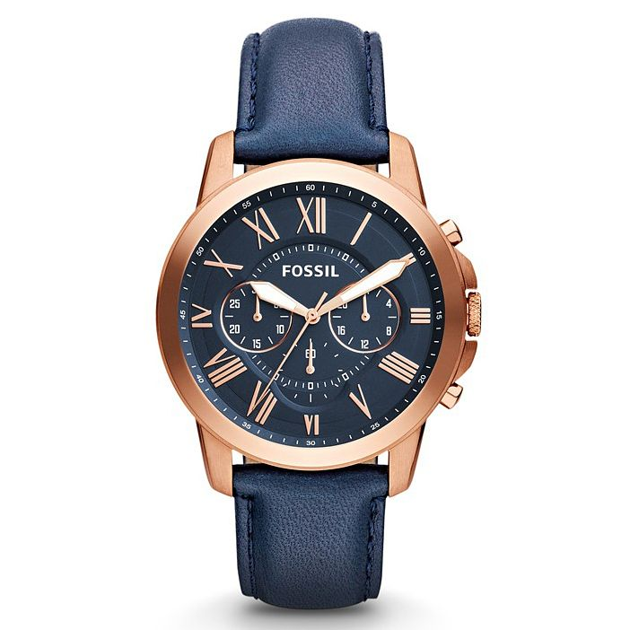 Fossil Men's Round Navy Dial Navy Leather Strap Watch - Product number 5065607