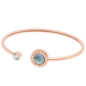 Michael Kors Rose Gold Tone Logo Stone Set Bangle - Product number 5073189