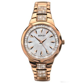 Seksy Ladies' Stone Set Gold-Plated Bracelet Watch - Product number 5086124