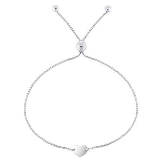 Silver Disc Heart Friendship Bolo Adjustable Bracelet - Product number 5088321