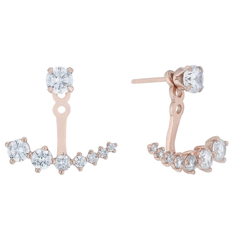 Rose Gold Plated Cubic Zirconia Jacket Earrings - Product number 5088348