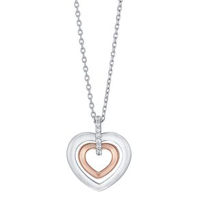9ct White &  Rose Gold Cubic Zirconia Heart Pendant - Product number 5088615