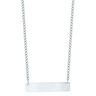 9ct White Gold Engravable Bar Necklet - Product number 5088623