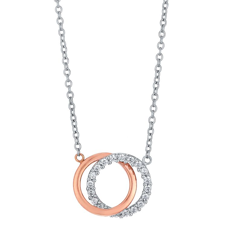9ct White & Rose Gold Cubic Zirconia Circle Necklet - Product number 5088712