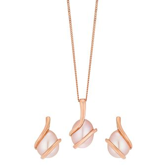 9ct Rose Gold Cultured Freshwater Pearl Wrap Set - Product number 5090040