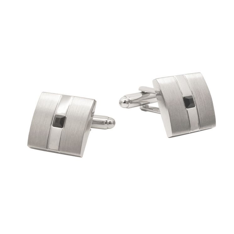 Brushed & Polished Stainless Steel Jet Crystal Set Cufflinks - Product number 5090067