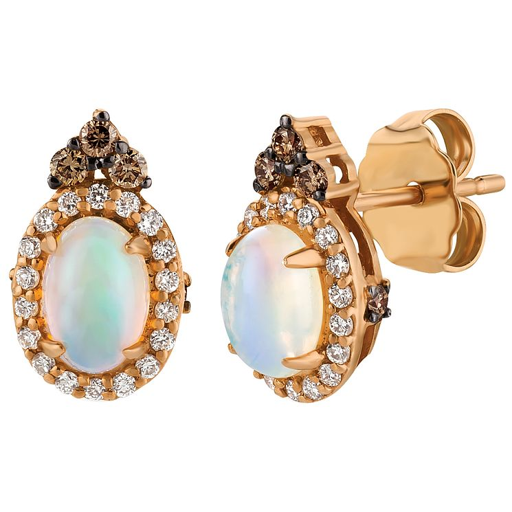 Le Vian 14ct Strawberry Gold Opal and Diamond Earrings - Product number 5102340