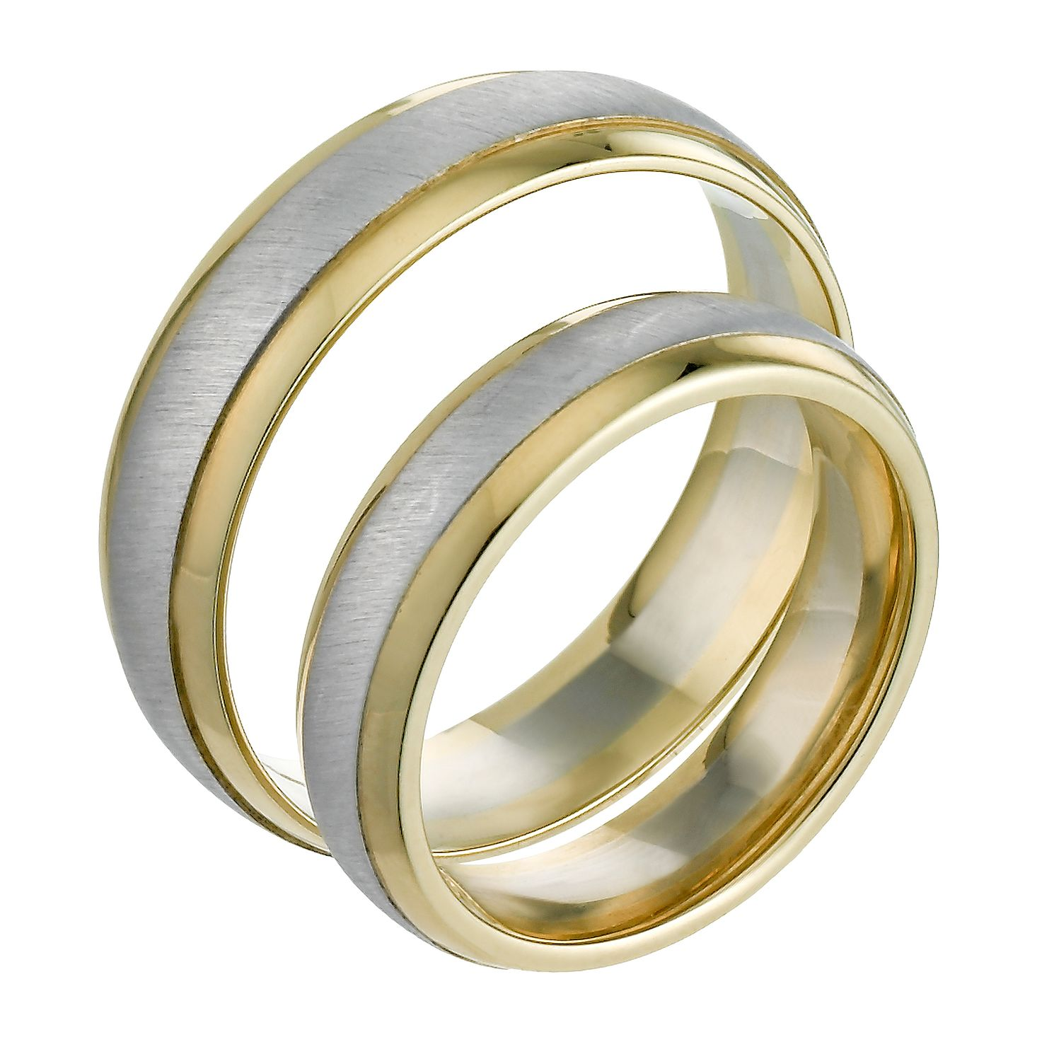 9ct White Yellow Gold Satin Polished Ring Pair HSamuel