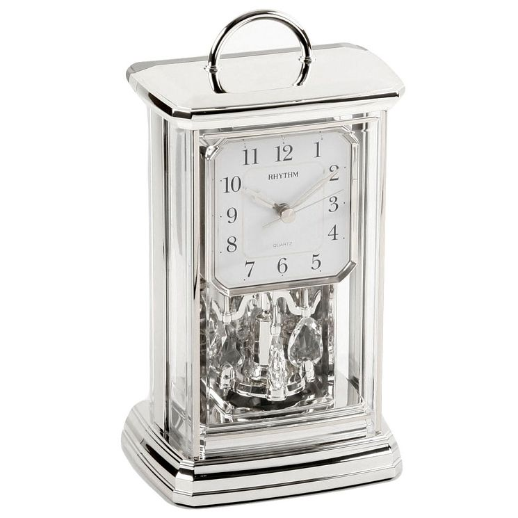 Rhythm Silver Tone Mantel Clock With Handle - Product number 5109493