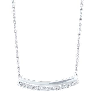 Sterling Silver Diamond Set Curved Bar Necklace - Product number 5109701