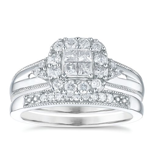 9ct White Gold 1/2 Carat Diamond Perfect Fit Bridal Set - Product number 5110394