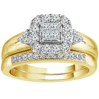 Perfect Fit 9ct Gold 1/2 Carat Diamond Bridal Ring Set - Product number 5110696