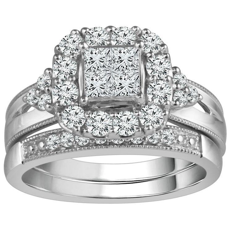 9ct White Gold 1 Carat Diamond Perfect Fit Bridal Set - Product number 5110831