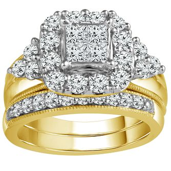 9ct Gold 1 1/2 Carat Diamond Perfect Fit Bridal Set - Product number 5111242