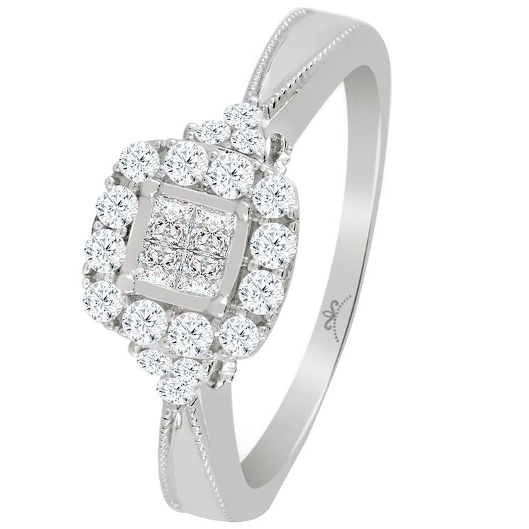 9ct White Gold 2/5 Carat Diamond Princessa Cluster Ring - Product number 5111854